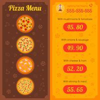 Menu de restaurant de pizza