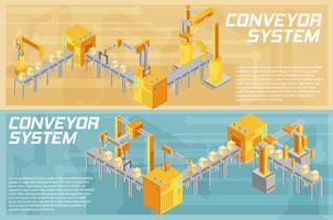 Bannières isométriques du système de convoyage vecteur