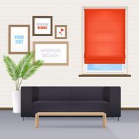 Intérieur de la chambre avec meubles et stores vecteur