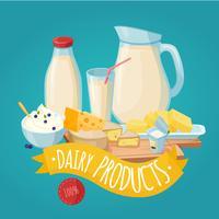 Affiche de produits laitiers vecteur