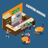 Composition isométrique de la maison du café vecteur