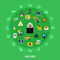 hacker rond jeu d'icônes