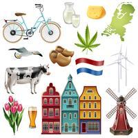 Pays-Bas voyage jeu d'icônes vecteur