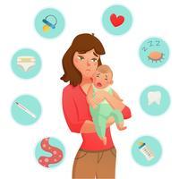Composition des motifs du bébé qui pleure vecteur
