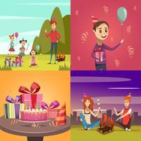 Enfants anniversaire Concept Icons Set