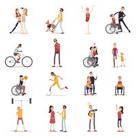 Ensemble d'icônes personnes handicapées vecteur