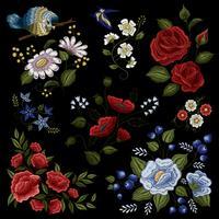 Motif de mode folklorique de broderie florale vecteur