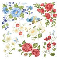 Motif coloré de broderie florale vecteur