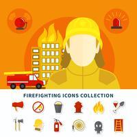 Collection d'icônes de lutte contre l'incendie vecteur
