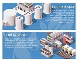 Bannières d'usine isométrique vecteur