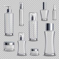 Paquet de cosmétiques réaliste ensemble transparent vecteur