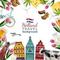 Affiche de fond de cadre de voyage Holland vecteur