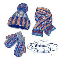 Bonnet chaud mitaines foulard couleur griffonnage vecteur