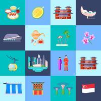 Jeu d'icônes plat de culture de Singapour