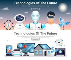 Technologies des futures bannières horizontales vecteur