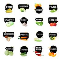 Légumes avec étiquettes