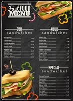 Affiche de publicité de menu de sandwiches de restauration rapide