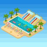 Composition isométrique du parc aquatique vecteur