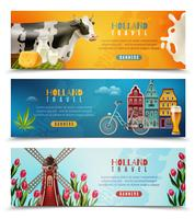 Ensemble de bannières horizontales Holland Travel vecteur