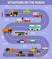 Illustration vectorielle de situations sur les routes vecteur