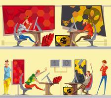 Cybersport Gamers 2 Bannières de bande dessinée plate vecteur