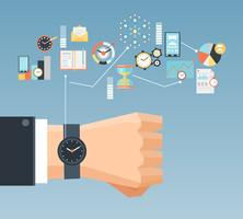 Affiche de composition à plat pour le concept de gestion du temps vecteur