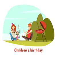 Composition de la fête d'anniversaire des enfants vecteur
