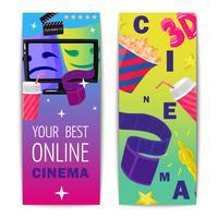 Cinéma Deux bannières verticales isolées vecteur