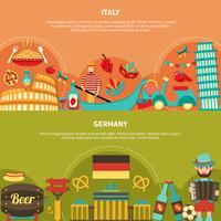 Italie Allemagne bannières horizontales vecteur