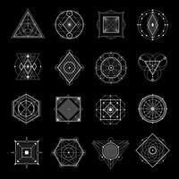 Géométrie sacrée sur fond noir vecteur