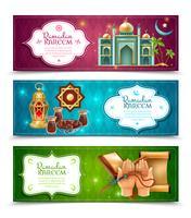 Ensemble de bannières horizontales Ramadan Kareem 3 vecteur