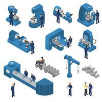 Jeu de machines-outils avec travailleurs isométrique