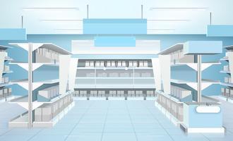 Composition de design d'intérieur de supermarché vecteur