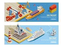 Bannières horizontales isométriques de transport maritime vecteur