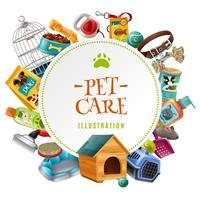 Accessoires de soins pour animaux, illustration de cadre rond