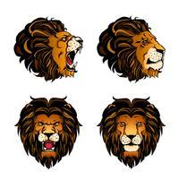 Collection de quatre têtes de lion colorées vecteur