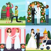 Jeu d'icônes orthogonales personnes mariage vecteur