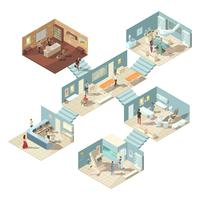 Concept isométrique d'hôpital vecteur