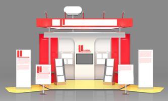 Design de vitrine d'exposition rouge vecteur