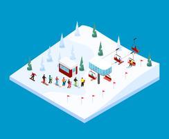 Paysage isométrique de montagne de ski vecteur