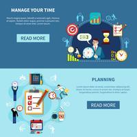 Ensemble de bannières de gestion du temps vecteur