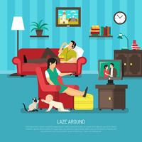 Illustration de gens paresseux vecteur