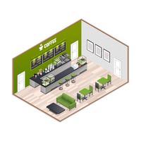 Intérieur isométrique de la maison du café vecteur