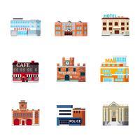 Jeu d'icônes de bâtiments urbains