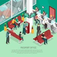 Illustration isométrique du bureau des passeports vecteur