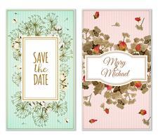 Ensemble de cartes d'invitation avec décoration de fleurs séchées vecteur