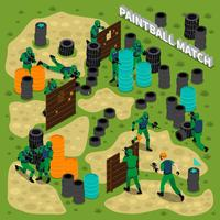 Illustration isométrique de match de paintball