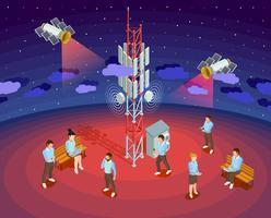 Affiche isométrique de satellites publics de technologie sans fil vecteur
