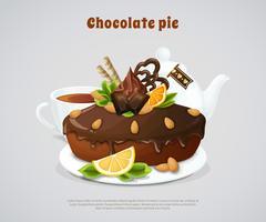 Illustration de la tarte au chocolat glacée vecteur