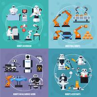 Robots Concept Icons Set vecteur